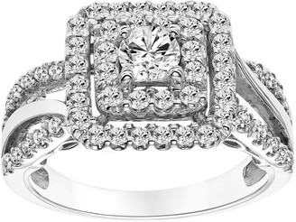 Vera Wang Simply Vera 14k White Gold 1 Carat T.W. Certified Diamond Square Halo Engagement Ring
