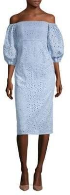 Sheila Off-The-Shoulder Eyelet Dress