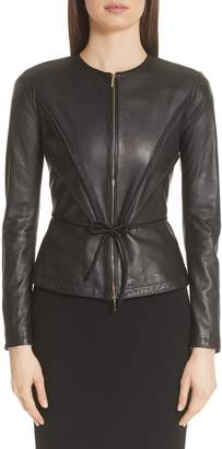 Emporio Armani Leather Peplum Jacket
