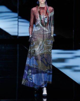Giorgio Armani Beaded Long-Sleeve Gown, Multicolor $27,795 thestylecure.com