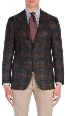 Isaia Windowpane Aqua Cashmere Jacket