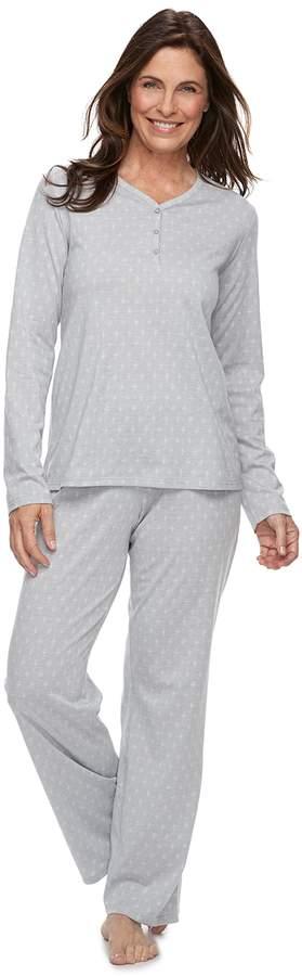 Petite Croft & Barrow Jacquard Henley Tee & Pants Pajama Set