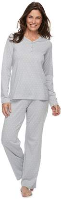 Croft & Barrow Petite Jacquard Henley Tee & Pants Pajama Set