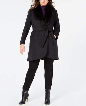 Calvin Klein Plus Size Faux-Fur-Collar Belted Coat