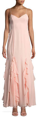 Fame & Partners The Lara Ruffle Spaghetti-Strap Gown