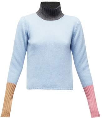 Marni Colour Block High Neck Cashmere Sweater - Womens - Blue Multi