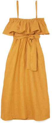 Faithfull The Brand Santo Ruffled Linen Midi Dress - Mustard