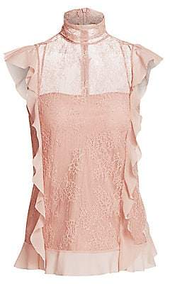 RED Valentino Women's High-Neck Ruffle Lace Blouse