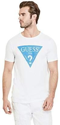 GUESS Men's Short Sleeve Basic Linear Logo Crew T-Shirt