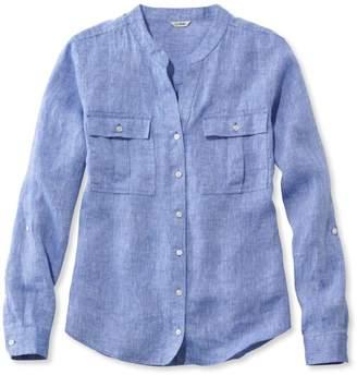 L.L. Bean L.L.Bean Women's Premium Washable Linen Roll-Tab Shirt, Long-Sleeve