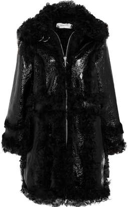 Marques Almeida Marques' Almeida - Shearling And Crinkled Patent-leather Coat - Black