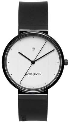 Jacob Jensen New Series Men's Quartz Watch with Dial Analogue Display and Black Rubber Strap 752