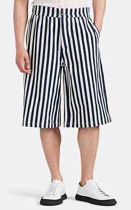 Loewe Men's Striped Slub Cotton Canvas Oversized Shorts - Navy