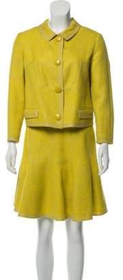 Louis Vuitton Textured Knee-Length Skirt Suit