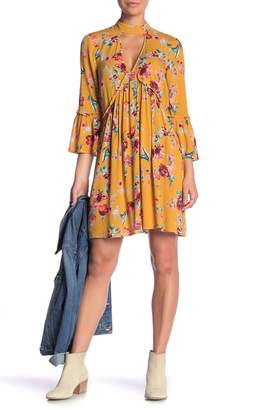 Band of Gypsies Bowen Floral Print Cutout Minidress