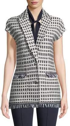 St. John Thatched Grid Knit Cap-Sleeve Jacket