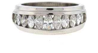 950 Platinum & 1.00ct. Diamond Wedding Band Ring Size 6.5