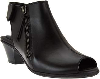 Earth Leather Peep-toe Booties - Kristy