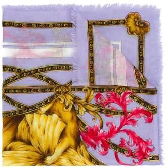 Versace floral lion print scarf
