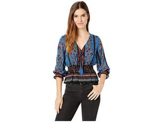 Angie Lace-Up Long Sleeve Printed Top Women's Clothing