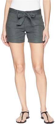 Liverpool Kinley Shorts with Tie Belt in Soft Stretch Linen in Fennel Green Women's Shorts