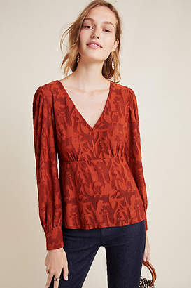 Eva Franco Burnout Velvet Puff-Sleeved Top