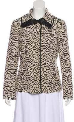Lafayette 148 Leather-Trimmed Patterned Jacket