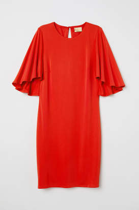 H&M Butterfly-sleeved Dress - Red
