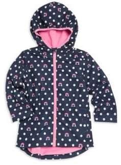 Hatley Little Girl's& Girl's Rainbow Polka Dot Hooded Rain Jacket