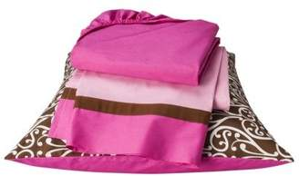Bacati Damask Pink/Chocolate Toddler Sheet Set