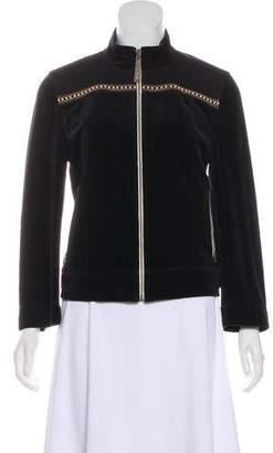 St. John Sport Embellished Velour Zip-Up Jacket