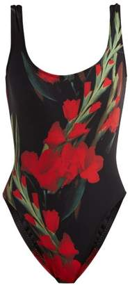 Norma Kamali Mio Roses Print Swimsuit - Womens - Black Print