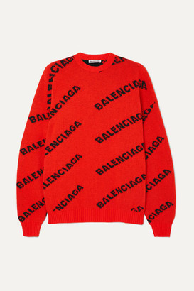 b3ada93cf7e4 Balenciaga Oversized Intarsia Wool-blend Sweater - Orange