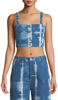 Levi's Button-Front Tie-Dye Denim Crop Top
