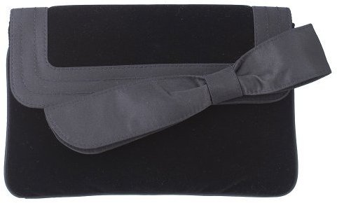 Velvet Large Bow Clutch - Black