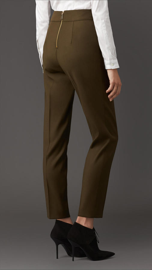 Burberry Virgin Wool Blend High-Waist Trousers