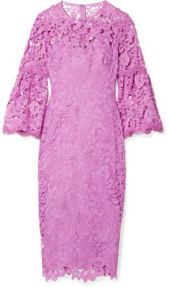 Lela Rose Guipure Lace Dress - Lavender