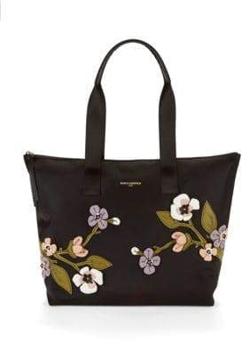 Floral-Embroidered Tote Bag