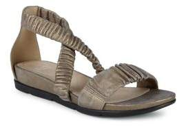 Eileen Fisher Dylan Rib-Strap Shimmer Metallic Leather Sandals