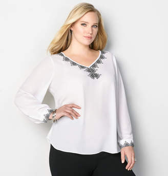 Avenue Contrast Embroidered Blouse
