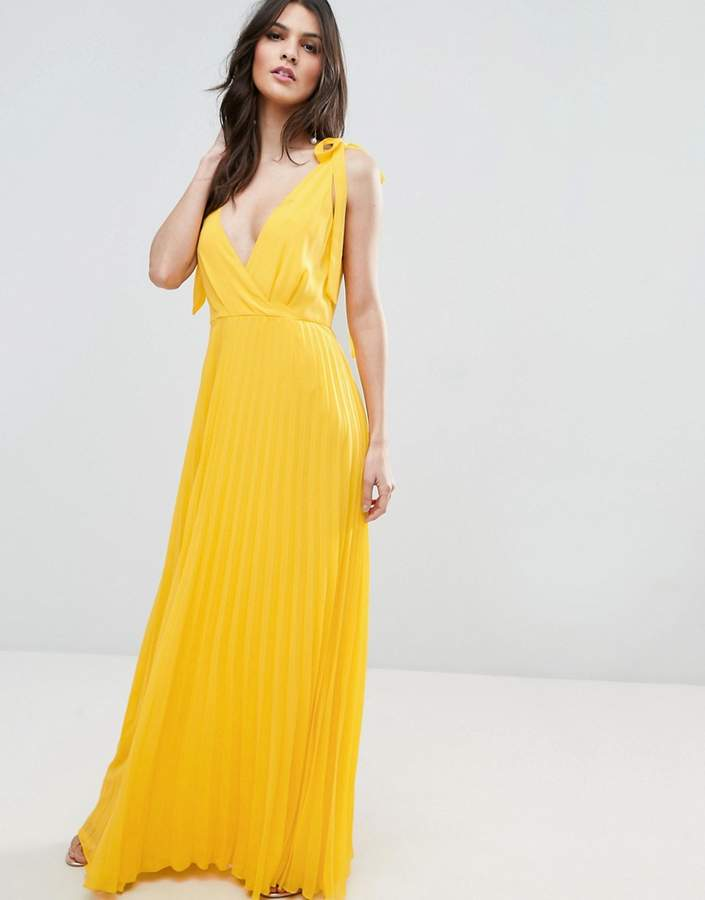 AsosASOS Cami Strap Tie Pleated Maxi Dress