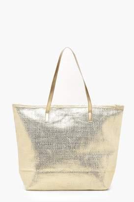 boohoo Metallic Straw Beach Bags