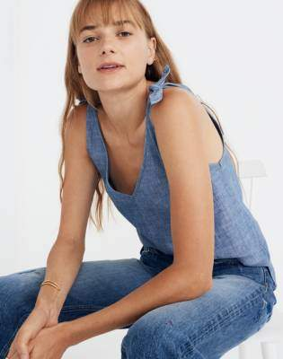 Madewell Chambray Tie-Strap Top