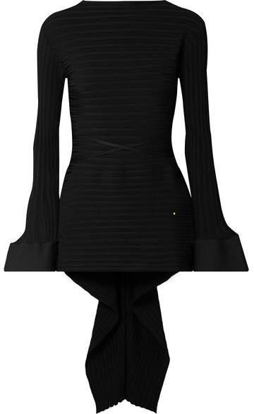 Esteban Cortazar - Asymmetric Ribbed-knit Sweater - Black