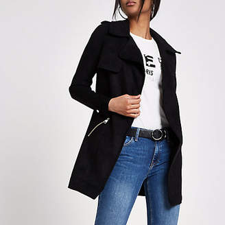 River Island Black faux suede longline trench jacket