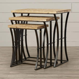 August Grove Anaelle 3 Piece Wood and Metal Nesting Table Set