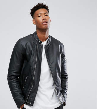 Asos Design DESIGN Tall faux leather racing jacket in black