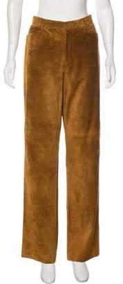 Loro Piana Leather High-Rise Wide-Leg Pants