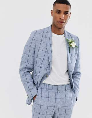 Asos Design DESIGN wedding skinny suit jacket in blue check and cotton linen mix