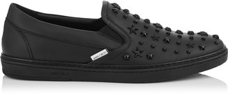 Jimmy Choo GROVE Black Sport Calf Leather Slip on Trainers with Mixed Stars